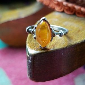 Sterling silver ring with Amber stone size 8